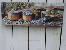 Primitive style canvas print wall art farmhouse country home decor Blueberries