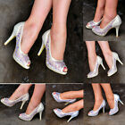 Ladies High heel Pumps Shimmer Cut Out Diamante Peep Toe Party Shoes Size S30472