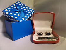 Mens boys silver cufflinks tie clip gift set box christmas gift any occassion