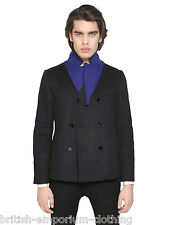 ICEBERG Black DB Lightweight Pea Coat Made In Italy BNWoT Ita48 - Uk38 (Med)