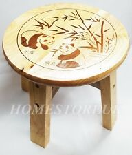 25CM PANDA SOLID VARNISHED WOOD WOODEN ROUND STEP STOOL KIDS CHILDREN SEAT 74020