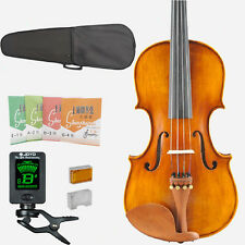 4/4 Full Size Natural Acoustic Violin Fiddle + Case Bow Rosin FREE STRING TUNER