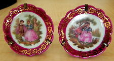 2 Vintage Limoges France Miniature Dollhouse Porcelain Plates with Frame