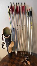 Vintage Archery Quiver Ben Pearson Brown W/Wood Arrow Holder Leather Recurve Bow