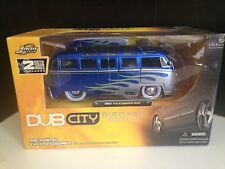 V Dubs - 1962 Volkswagon Bus - By Jada Toys - 1:24 - Rare Blue Flames - NEW -