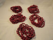 5 STRANDS TOTAL 45' CRANBERRY RED WOOD BEADS CHRISTMAS GARLAND PRIMITIVE COUNTRY