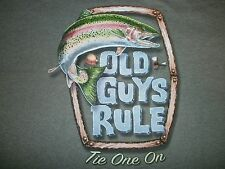 """OLD GUYS RULE RAINBOW TROUT """" TIE ONE ON """" FLY FISHING RIVER LAKE BOAT S/S XL"""