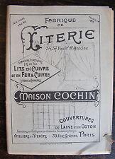 CATALOGUE 1908  FABRIQUE DE LITERIE, LITS EN CUIVRE ET EN FER, MAISON COCHIN
