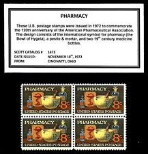 1972 - PHARMACY (APA) - #1473 Mint -MNH- Block of Four Postage Stamps
