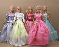 Lot 5 New Girls Baby Gift Dress Evening Party Gown Clothes For Barbie Doll Toys