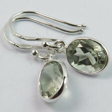 Natural GREEN AMETHYST Oval Gemstones Pretty Earrings 925 Solid Sterling Silver