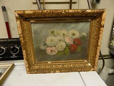 1800's early 1900's FLORAL ANTIQUE STILL LIFE OIL PAINTING folk art paintings