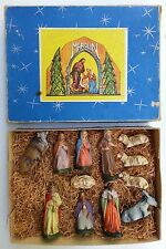 Vintage Marolin Germany Jesus Christ Nativity Scene Set Manger Christmas