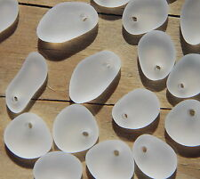 "6 pcs~ Frosted Sea Glass Small Pebble Mix Pendant Beads ""Crystal White"""