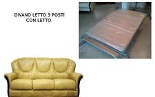 SALOTTO LETTO divano classico  IN VERA PELLE 3 POSTI PREZZO SPECIALE scorniciato