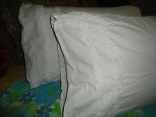 SIMPLY SHABBY CHIC WHITE LACE RUFFLED (PAIR) KING PILLOW SHAMS GIRLS 18 X 35