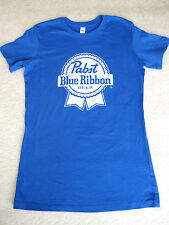 NEW PABST BLUE RIBBON BEER BLUE TEE T-SHIRT Large L ~ Life is Good Softness!