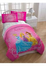 Disney Princess Tiara Comforter 5 piecs set full plush Cinderella Rapunzel Belle