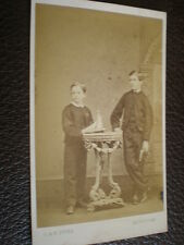 CDV old photograph boy toy yacht by Owen at Newtown North Wales c1860s