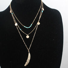 Women Retro Multilayer Beads Ethnic Necklace Feather Pendant Long Sweater Chain