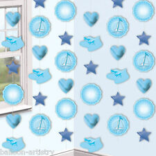 6 Blue Boy's Booties & Boat Cute Christening Party Hanging String Decorations