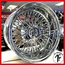 14x7 REVERSE 72 SPOKE WIRE WHEELS CROSS LACE ALL CHROME RIMS (4pcs)