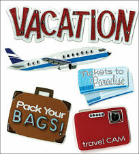 Jolee's VACATION Stickers AIRPLANE TICKETS LUGGAGE SUITCASE CAMERA TRAVEL