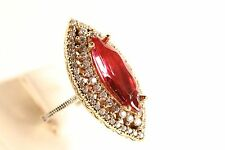 Turkish Jewelry Ottoman Authentic  Ruby Topaz 925K Sterling Silver Ring 7.75