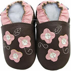 shoeszoo 3 pink flowers brown 0-6m S soft sole leather baby shoes