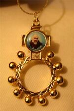 Handsome Shiny Goldtone St. Padre Pio Finger Rosary Medal Pendant Necklace