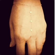 Tiny 3 Star Gold Chain Finger-Bracelet/Slave-Bracelet/ Hand-Chain/ Ring-Bracelet