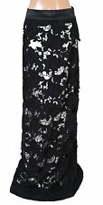 136494 New Free People Floral Embroidered Cutout Black Cotton Long Maxi Skirt S