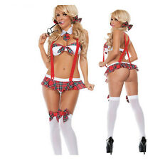 Sexy Naughty Lingerie School Girl Costume Fancy Dress Outfit Halloween Costume