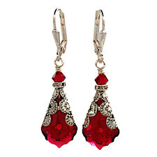 Ruby Red Baroque Vintage Filigree Earrings with Crystal from Swarovski