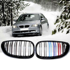 Fit BMW 5 Serie E60 E61 03-10 Grill Front Grille Gloss Black M-color Double Line