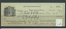 wbc. - CHEQUE - CH1058 - USED -1944/47- BROWNSVILLE BANK, TENNESSEE, USA