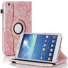 Rotating Embossed Flower PU Leather Case For Samsung Galaxy Tab 3 8.0 T3100 Pink