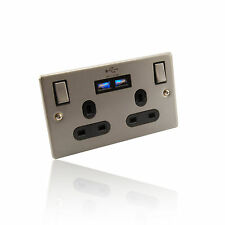 2 Way/ 2 Gang UK Mains Power & Twin 2 Amp USB Socket/Wall Plate - Brushed Chrome
