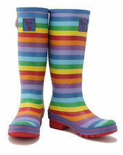 Ladies Evercreatures Multi Tall Wellies Striped Wellington Boots - UK 3 - 8