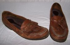 Men's size 11 5595 ROCKPORT Brown Leather Slip On Boat Shoes Tassels