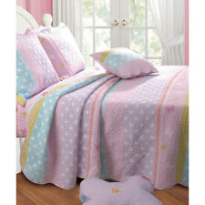 BEAUTIFUL CHARMING PINK SOFT REVERSIBLE COMFORTER QUILT SET GIRLS - TWIN SIZE