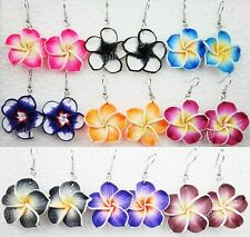 wholesale jewelry lots 6pairs mix color polymer clay flower earrings freeship