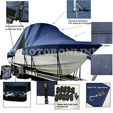 Boston Whaler 285 Conquest Pilothouse Walk Around T-Top Hard-Top Boat Cover Navy