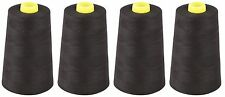 BLACK SEWING THREAD 120s SPUN POLYESTER, OVERLOCKING, 5000 YARDS, X4 CONES