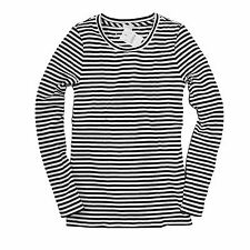 J Crew Factory - XS - NWT - Black/White Striped Ribbed Crew Tee - Thermal Shirt
