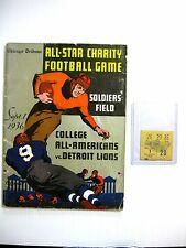 1936 COLLEGE ALL AMERICANS v LIONS FOOTBALL PROGRAM + TK STUB BERWANGER HEISMAN