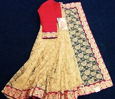 Bollywood Indian Gold Colour Beautiful Stone Work Full With Net Saree Party Wear