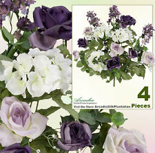"4 Lilac Rose 19"" Silk Flowers Artificial Plant Decor 144PULV"