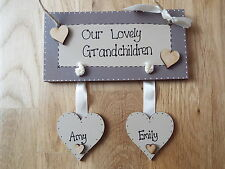 Family Sign wooden Grandchildren plaque 2 HEARTS ONLY  shabby chic gift