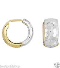 Reversible Diamond Cut or Plain Huggie Hoop Earrings Real 14K Yellow White Gold